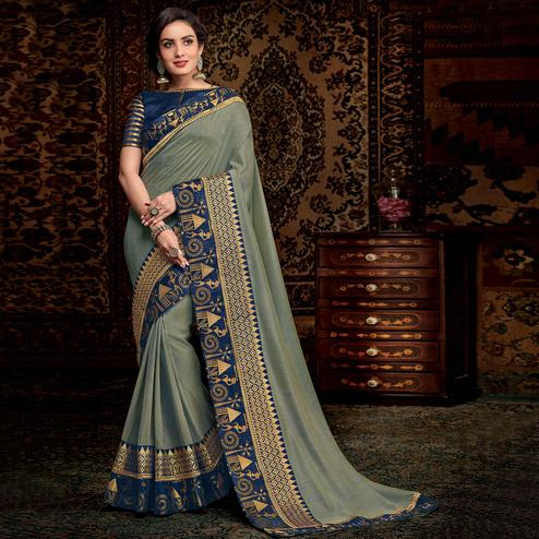 Energetic Gray Colored Partwear Embroidered Silk Saree