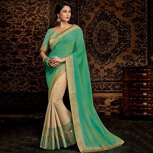 Mesmeric Beige-Turquoise Green Colored Partwear Embroidered Silk-Art Silk Half-Half Saree