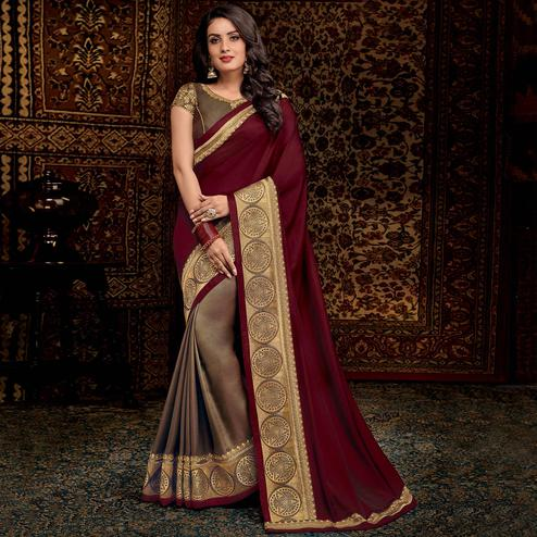 Appealing Gray-Maroon Colored Partwear Embroidered Silk Half-Half Saree