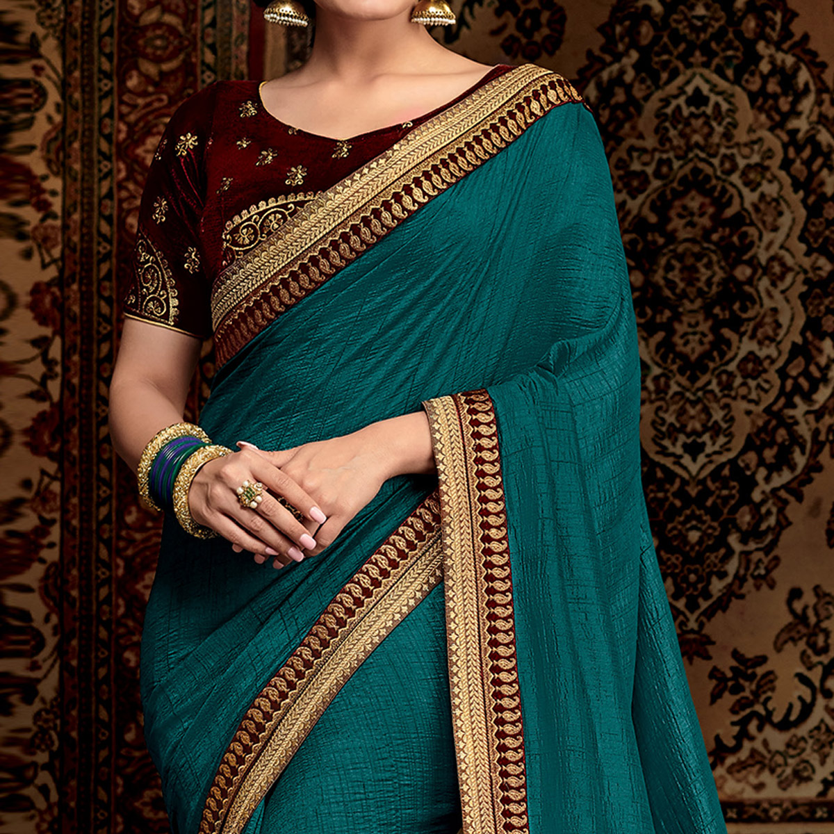 Classy Blue Colored Partwear Embroidered Silk Saree