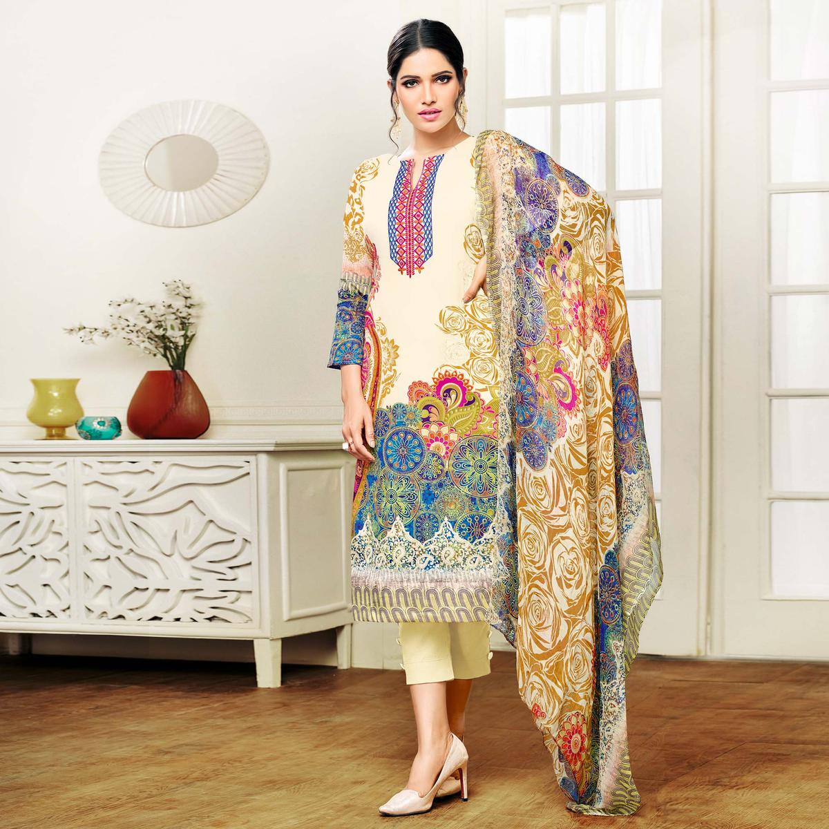 Cream Digital Printed Casual Wear Suit