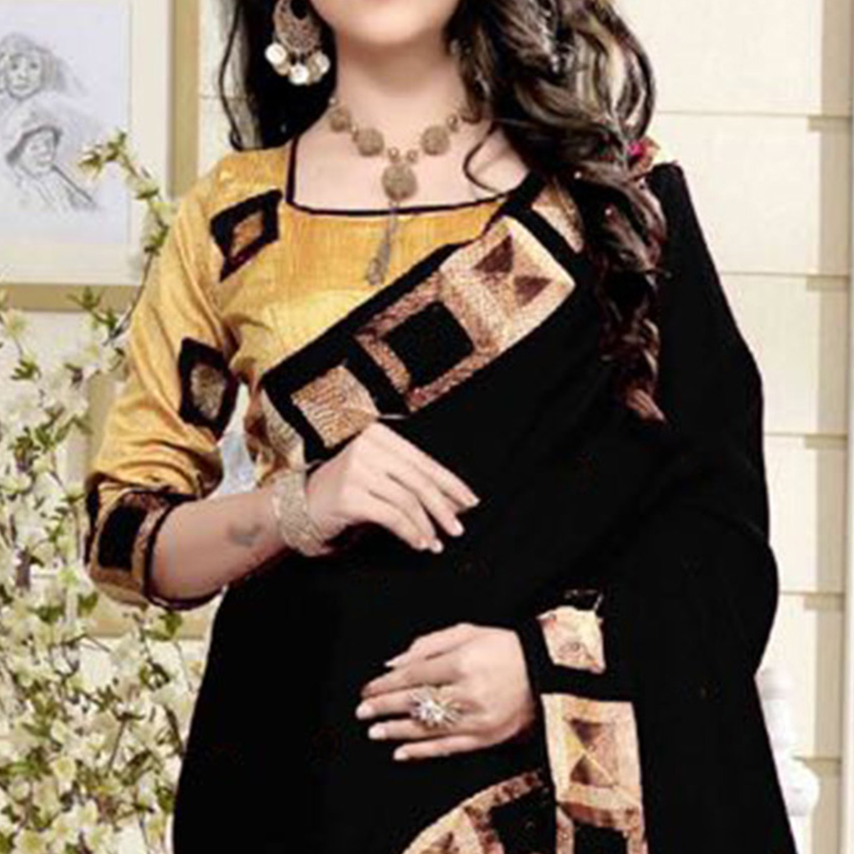 Delightful Black Colored Casual Wear Printed Chanderi Silk Saree