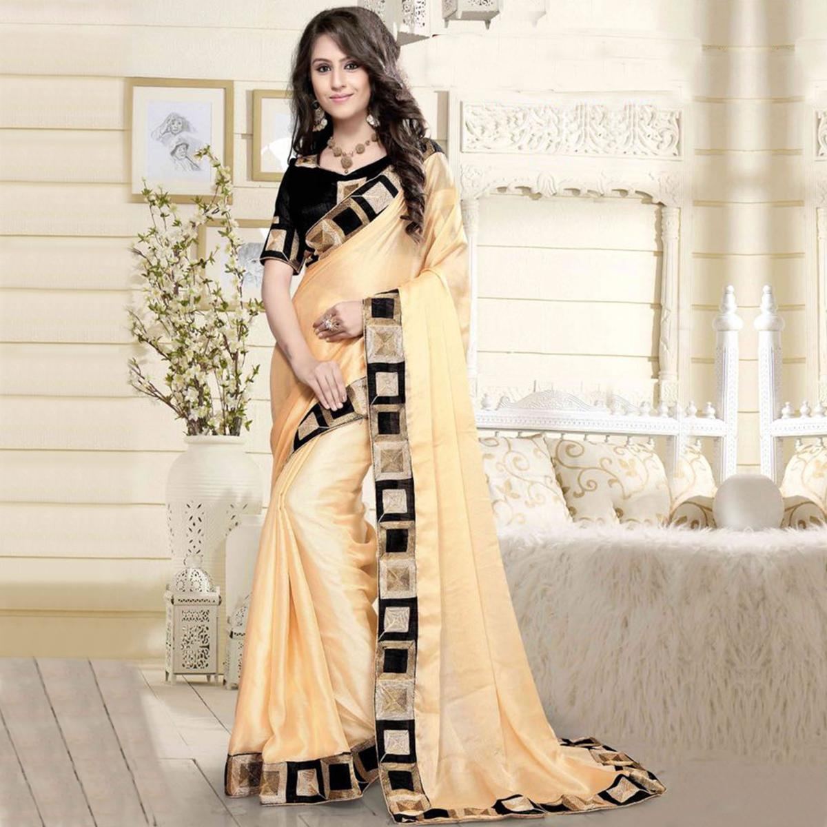 Blooming Beige Colored Casual Wear Printed Chanderi Saree