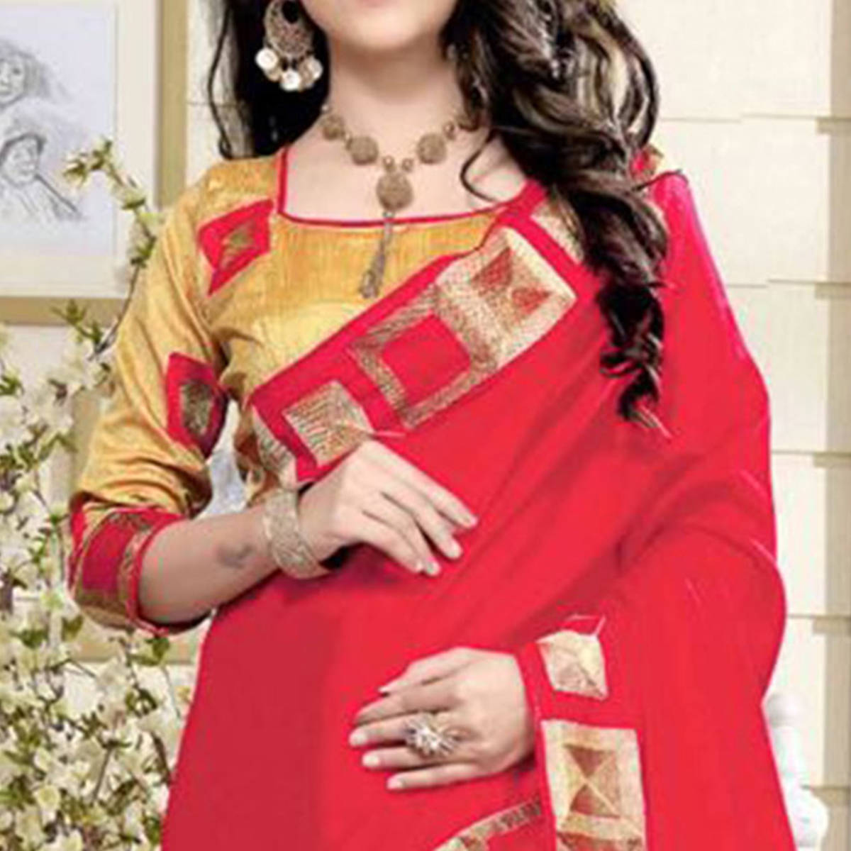 Ravishing Gajri Pink Colored Casual Wear Printed Chanderi Saree