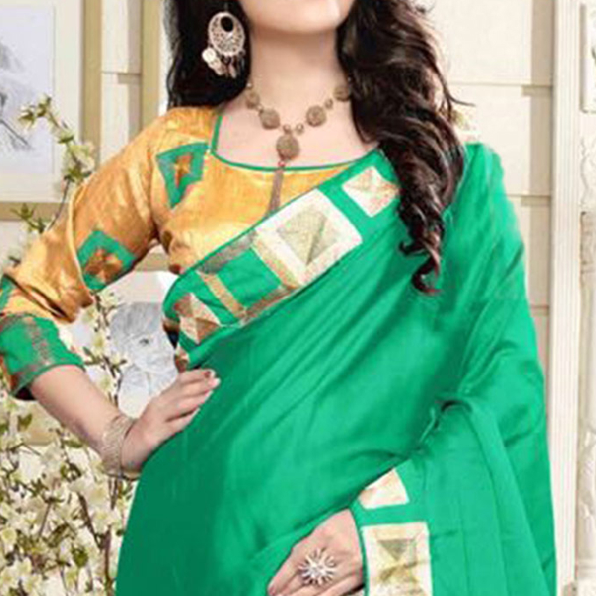 Attractive Rama Green Colored Casual Wear Printed Chanderi Saree
