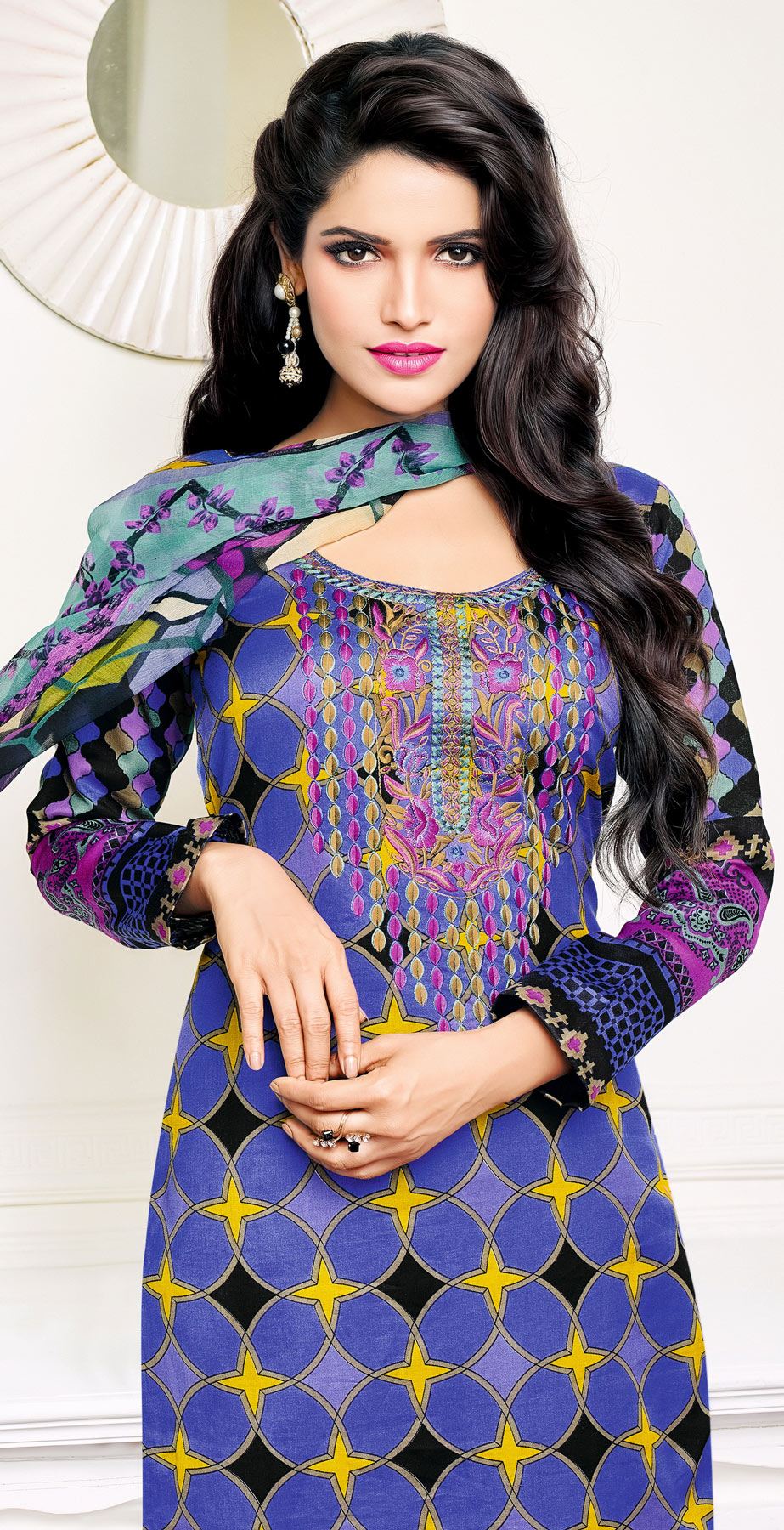 Blue - Purple Printed Cotton Salwar Suit
