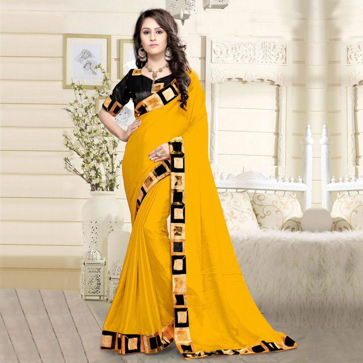 7de7c200b77caf Buy Classy Yellow Colored Casual Wear Printed Chanderi Silk Saree For  womens online India, Best Prices, Reviews - Peachmode