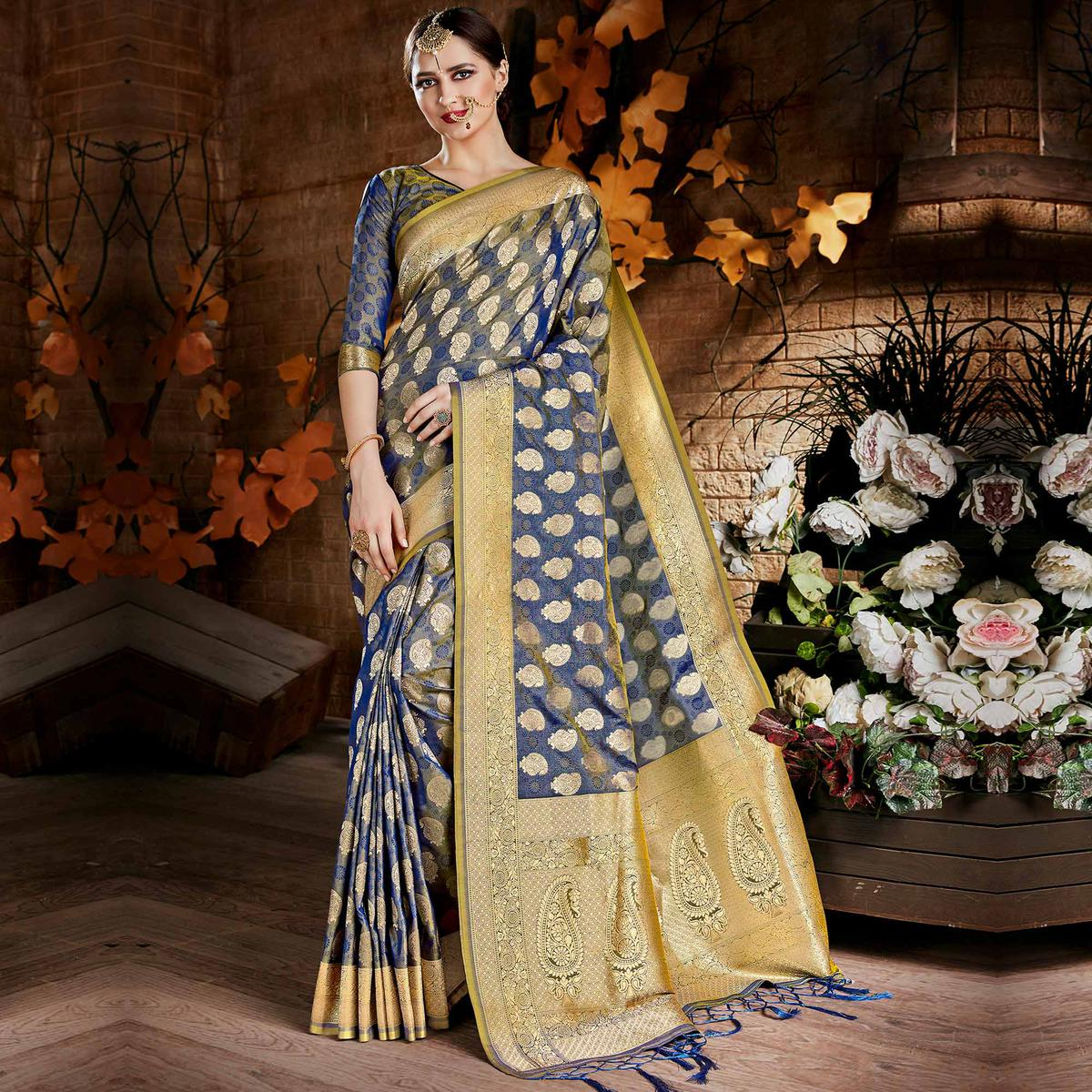 Graceful Blue Colored Festive Wear Woven Art Silk Saree