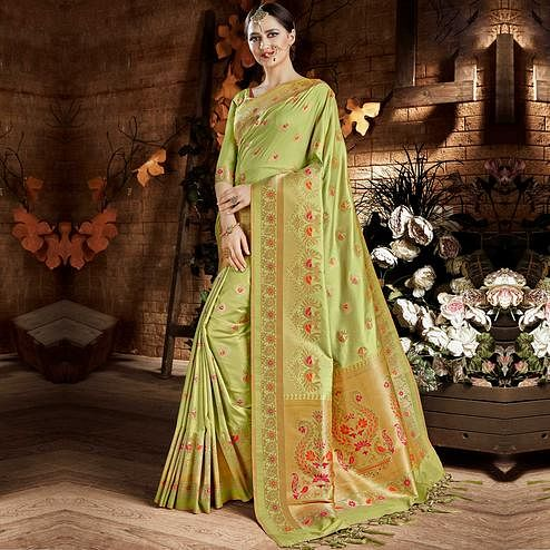 Pretty Light Green Colored Festive Wear Woven Art Silk Saree