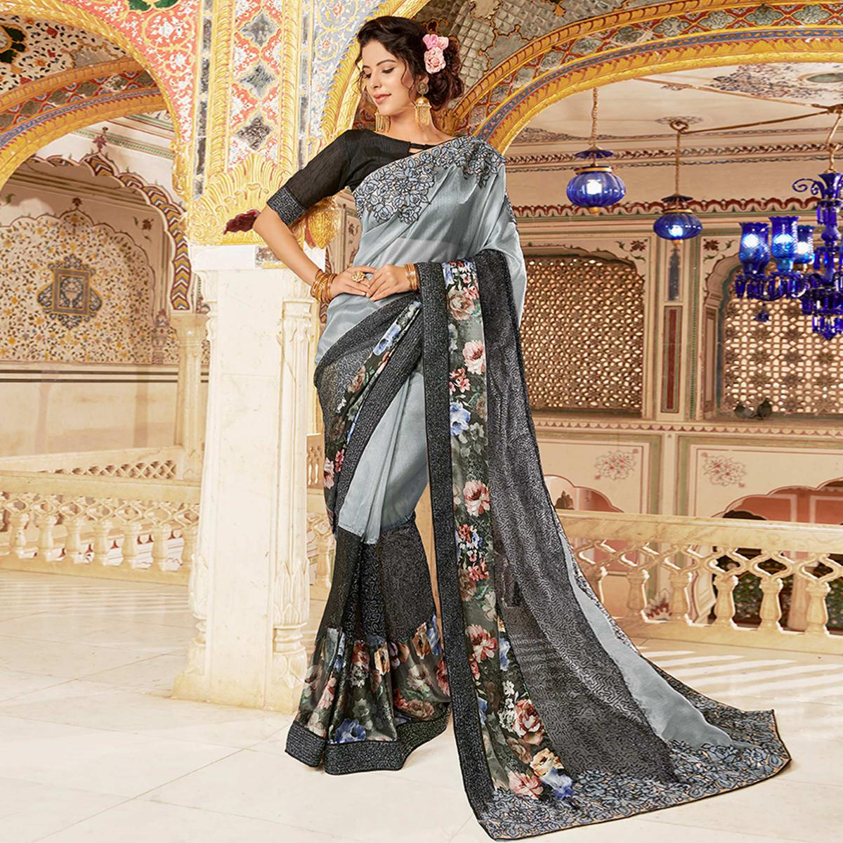 Stunning Gray Colored Partywear Embroidered Art Silk Saree