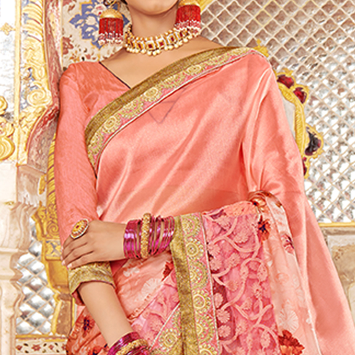 Trendy Peach Colored Partywear Embroidered Art Silk Saree