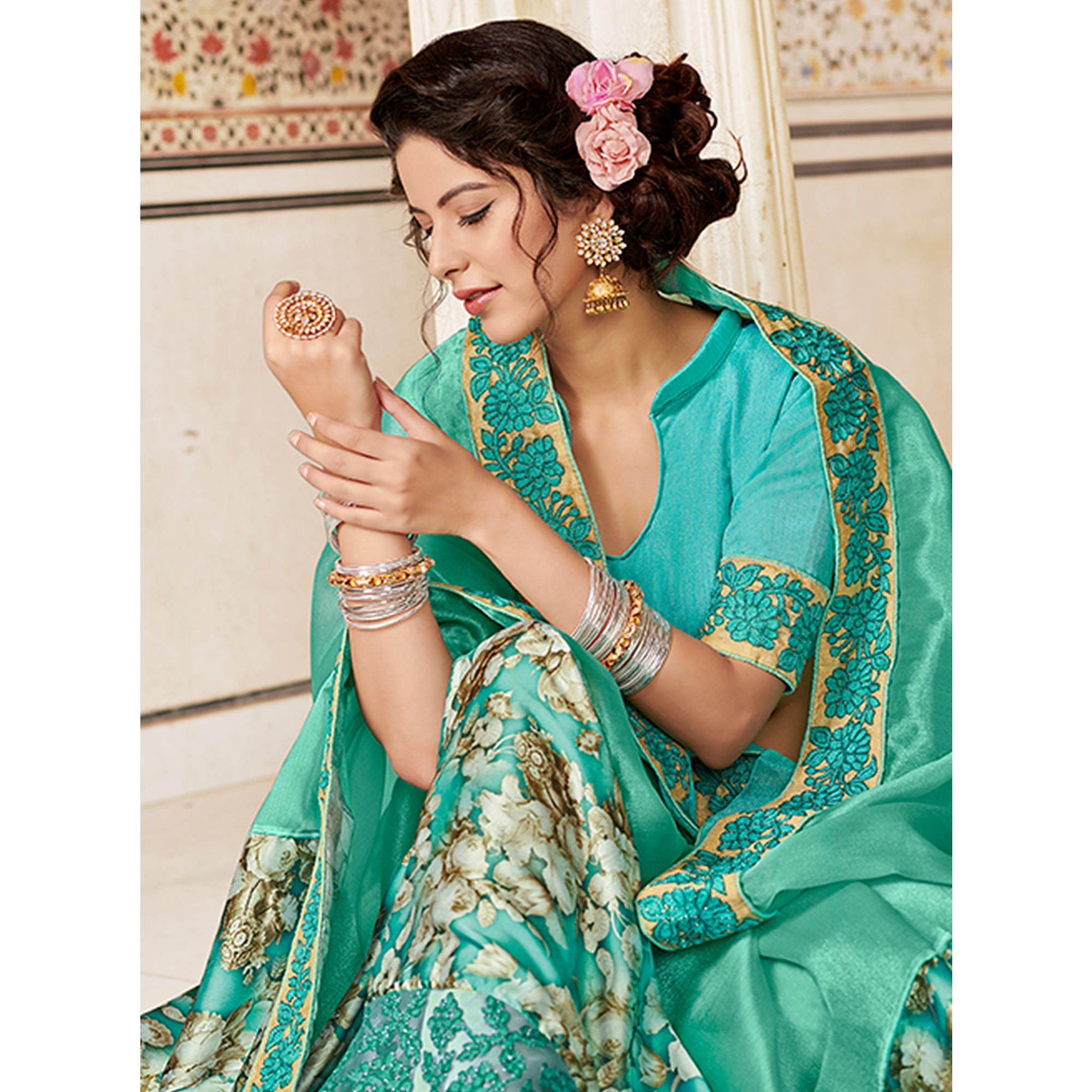 Refreshing Aqua Green Colored Partywear Embroidered Art Silk Saree