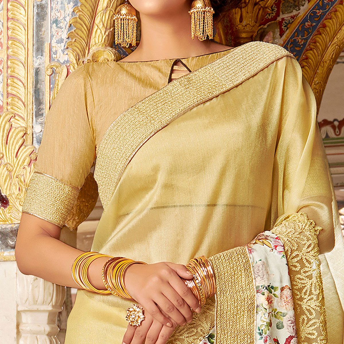 Appealing Beige Colored Partywear Embroidered Art Silk Saree