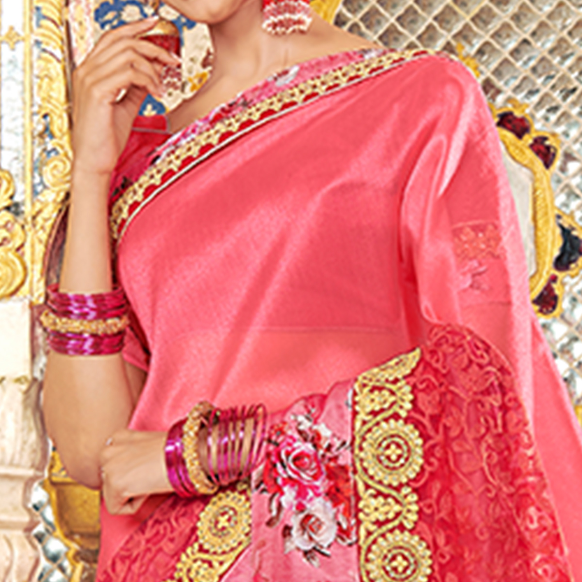 Perfect Dark Pink Colored Partywear Embroidered Art Silk Saree