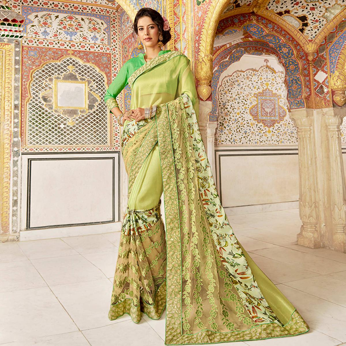 Impressive Light Green Colored Partywear Embroidered Art Silk Saree
