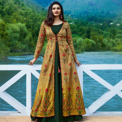 Stylish Dark Green-Yellow Colored Partywear Printed Satin-Silk Jacket Style Long Kurti