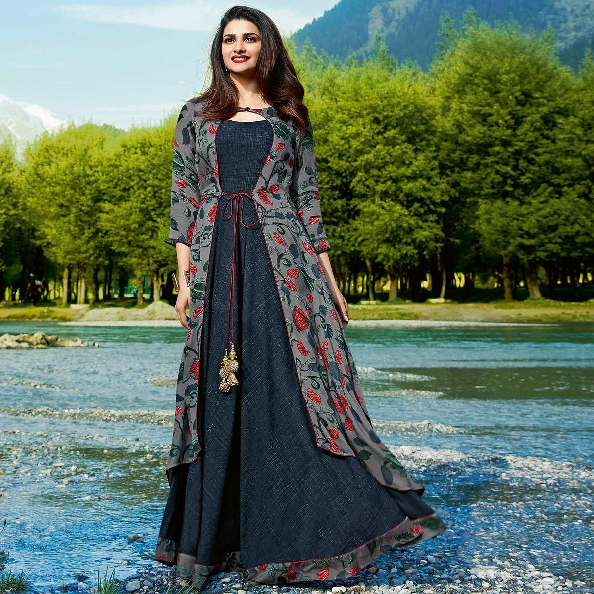 133cdc6f63 Classy Gray Colored Partywear Printed Satin-Crepe Jacket Style Long Kurti