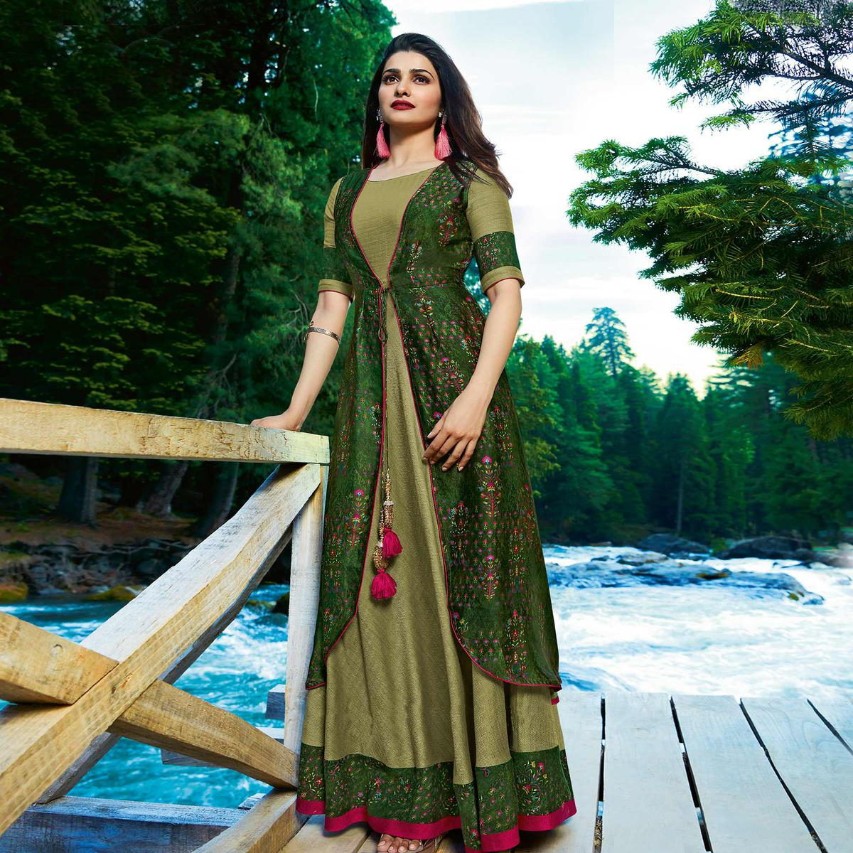 Energetic Green Colored Partywear Printed Satin-Crepe Jacket Style Long Kurti