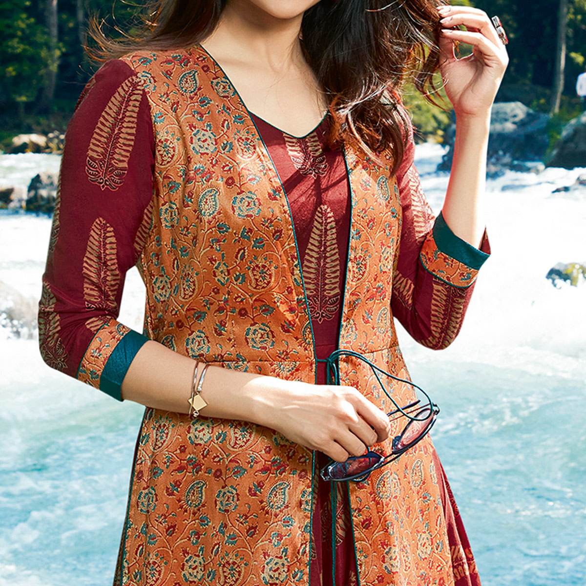 Amazing Maroon-Orange Colored Partywear Printed Silk Jacket Style Long Kurti