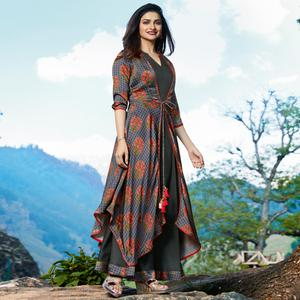 Stunning Gray Colored Partywear Printed Satin-Crepe Jacket Style Long Kurti