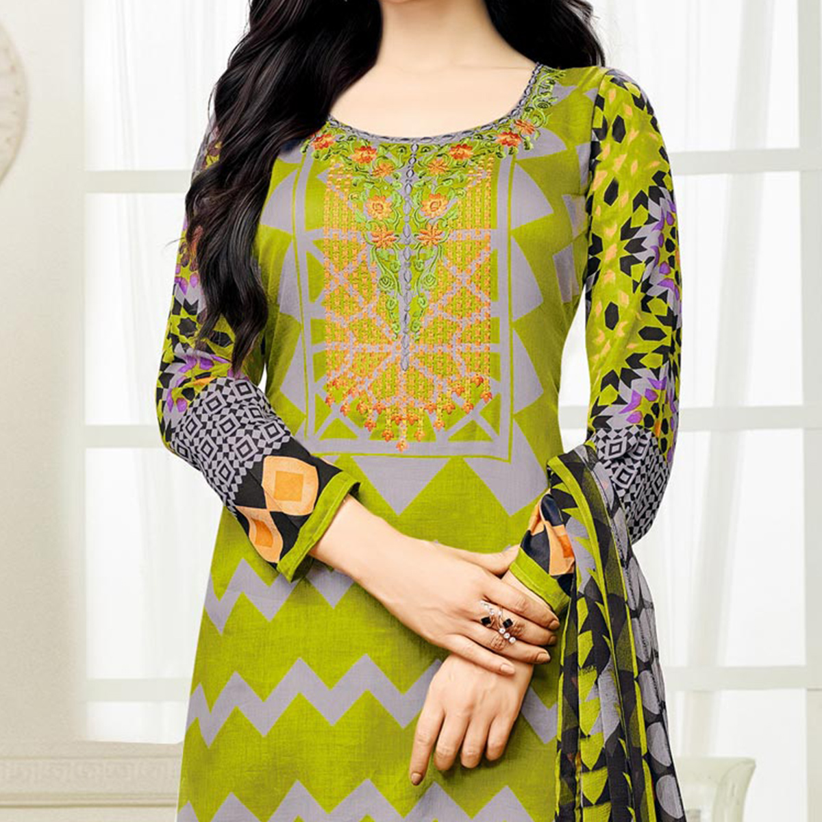 Green - Grey Casual Wear Straight Cut Suit