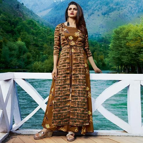 Beautiful Light Brown Colored Partywear Printed Satin-Crepe Jacket Style Long Kurti