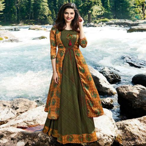 Gorgeous Dark Green-Mustard Yellow Colored Partywear Printed Satin-Crepe Jacket Style Long Kurti