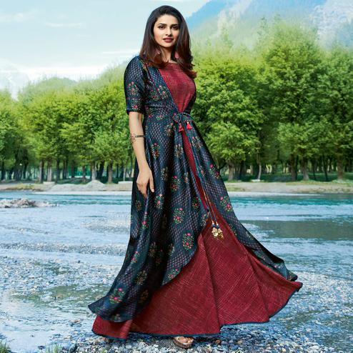 Groovy Maroon-Blue Colored Partywear Printed Satin-Crepe Jacket Style Long Kurti