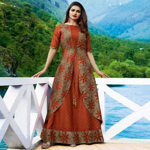 Flaunt Rust Orange-Gray Colored Partywear Printed Silk Jacket Style Long Kurti