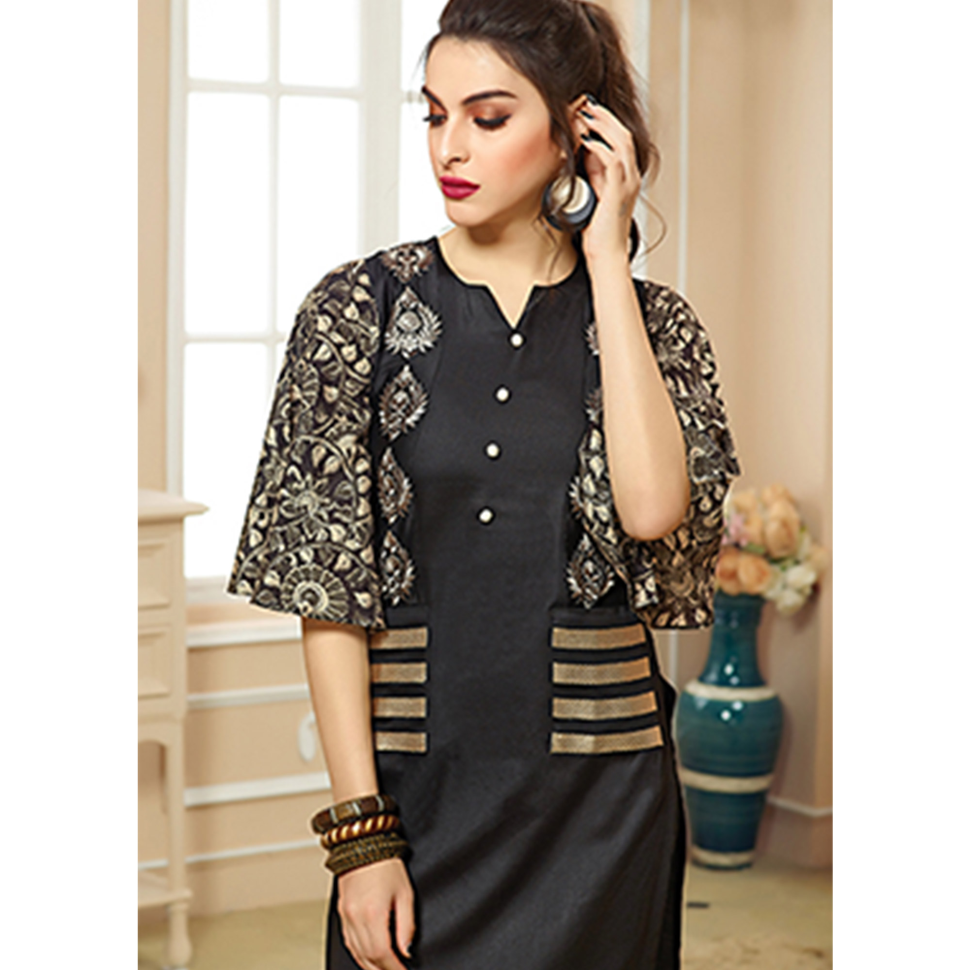 Charming Black Colored Party Wear Embroidered Cotton Kurti