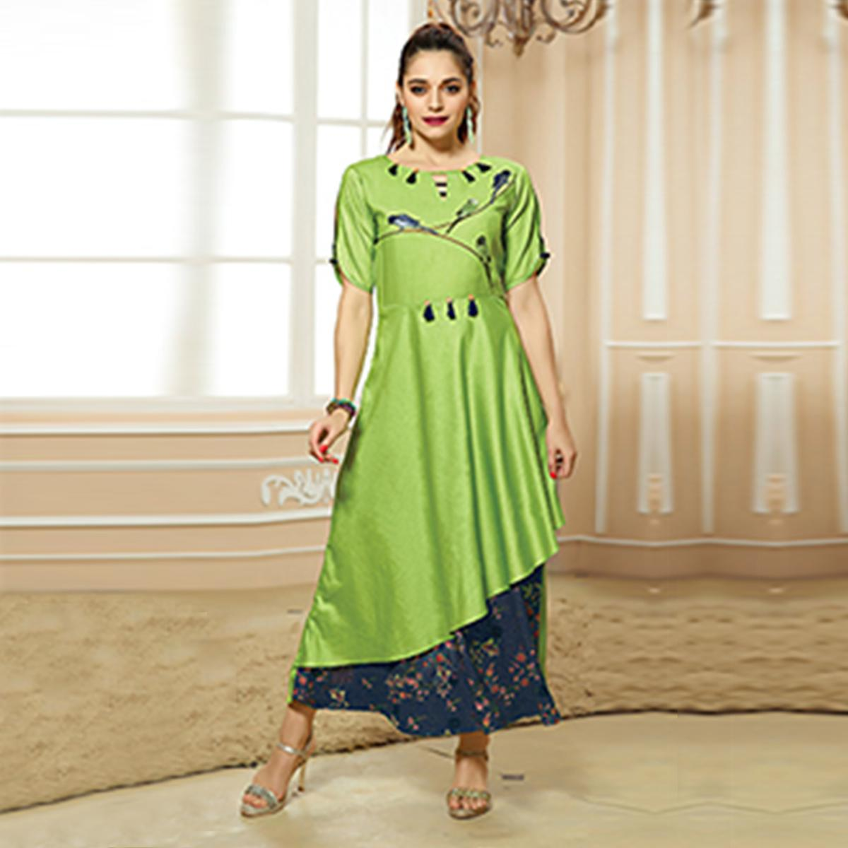 Ravishing Green Colored Party Wear Embroidered Cotton Kurti