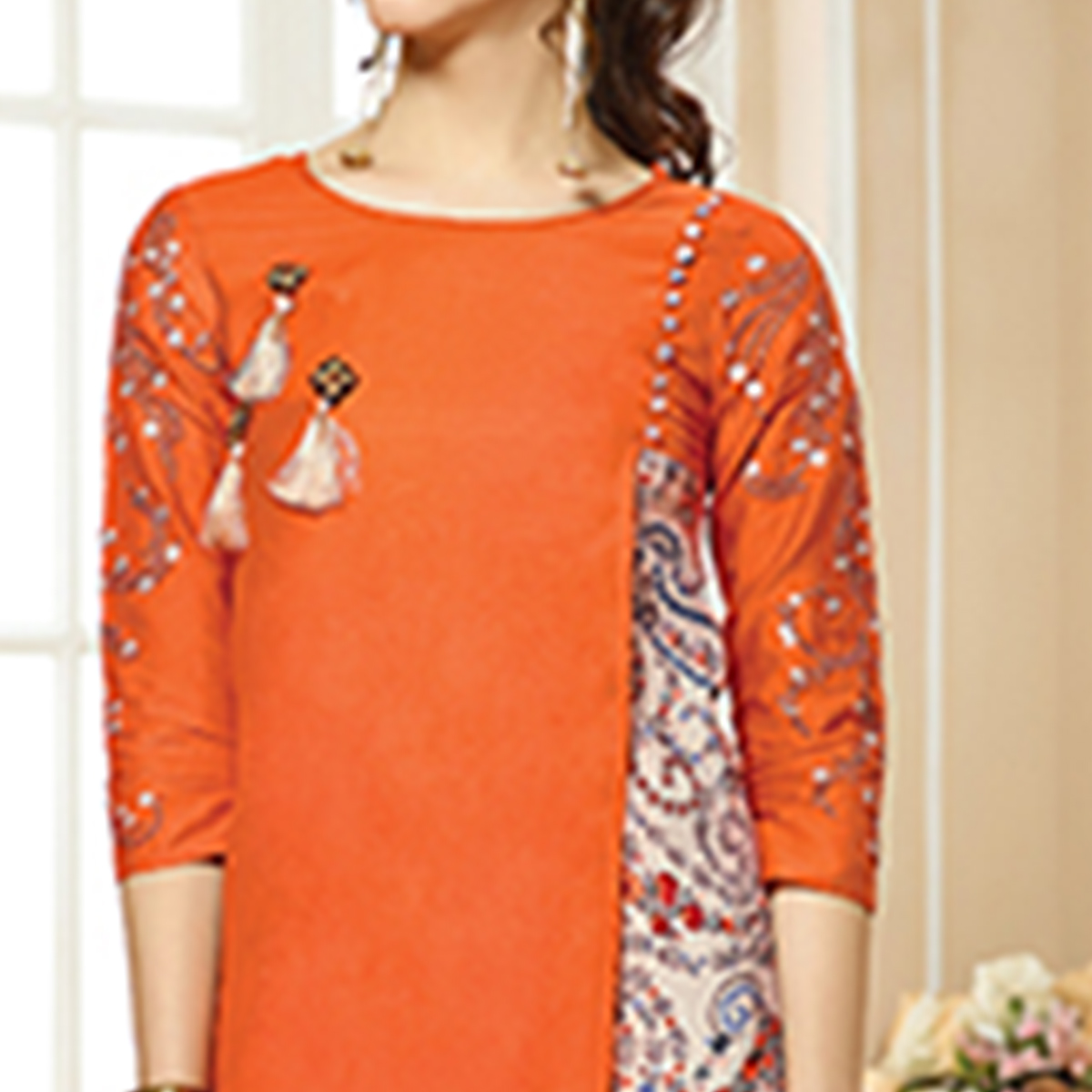 Delightful Orange Colored Party Wear Embroidered Cotton Kurti