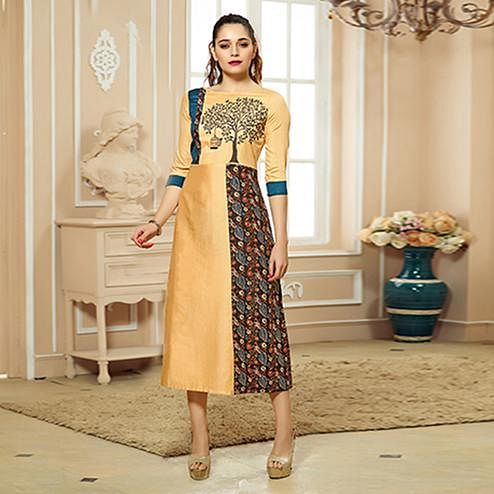 Stunning Golden Colored Party Wear Embroidered Cotton Kurti