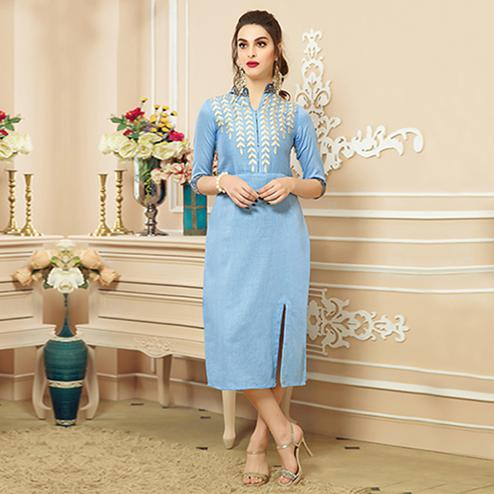 Blooming Light Sky Blue Colored Party Wear Embroidered Cotton Kurti