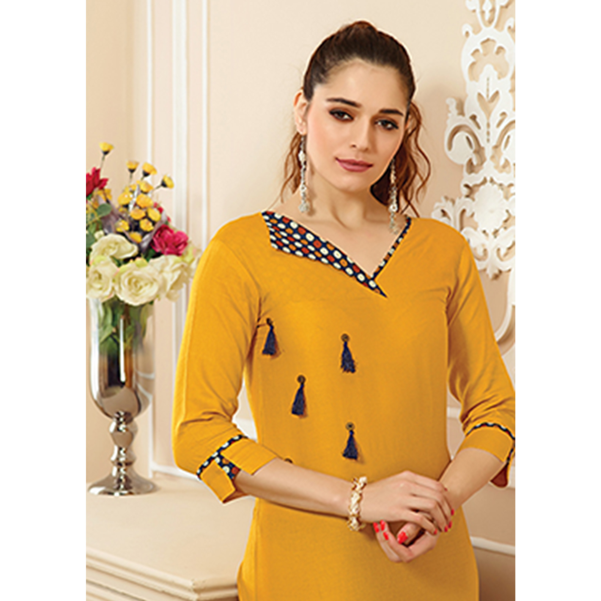Marvellous Yellow Colored Party Wear Embroidered Cotton Kurti