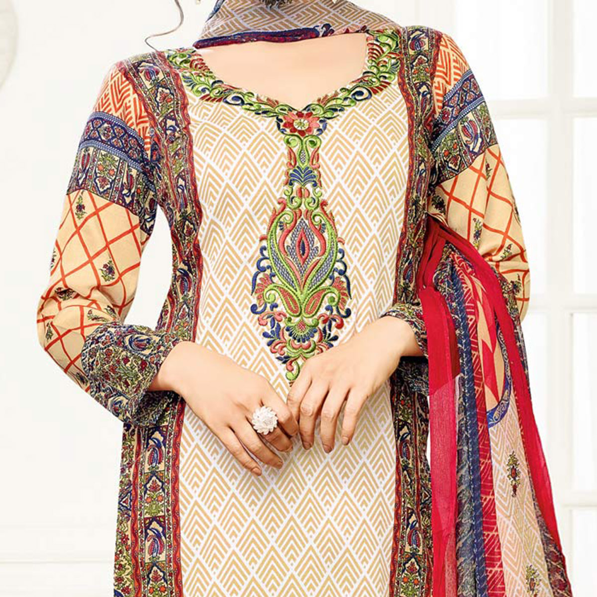 Beige - Red Printed Cotton Semi Stitched Suit