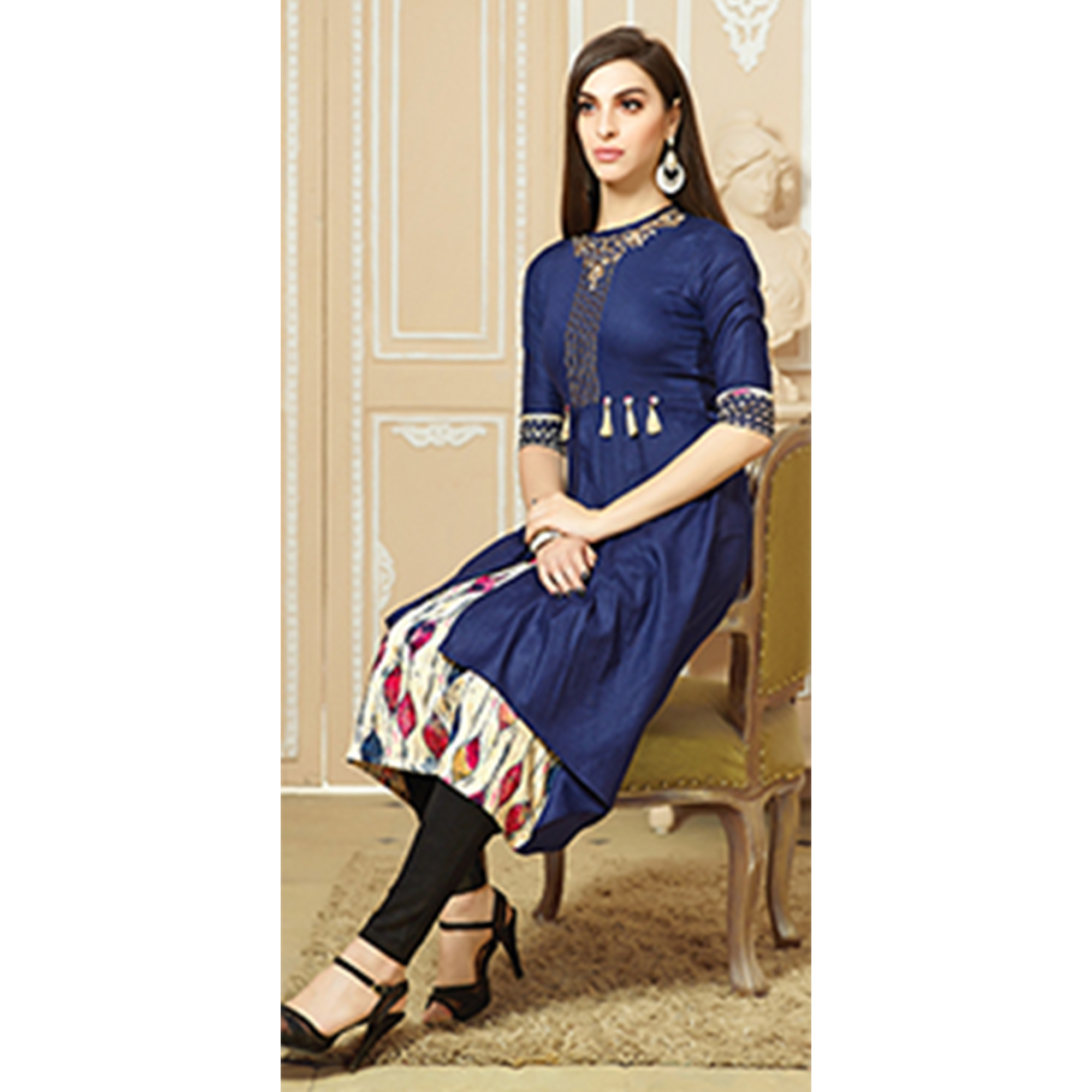 Mesmerising Dark Blue Colored Party Wear Embroidered Cotton Kurti