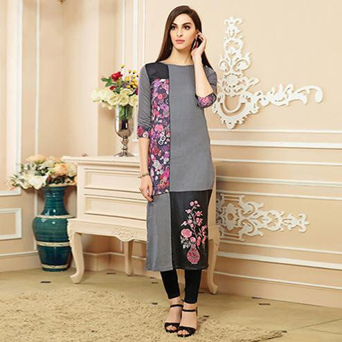Eye-catching Grey Colored Party Wear Embroidered Cotton Kurti