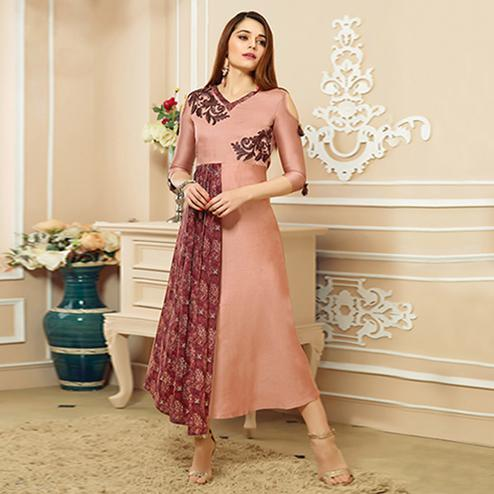 Amazing Dusty Pink Colored Party Wear Embroidered Cotton Kurti