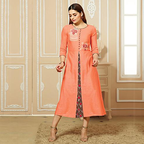 Exotic Peach Colored Party Wear Embroidered Cotton Kurti