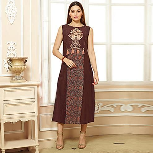 Majesty Brown Colored Party Wear Embroidered Cotton Kurti