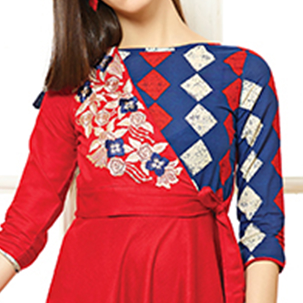 Attractive Red Colored Party Wear Embroidered Cotton Kurti