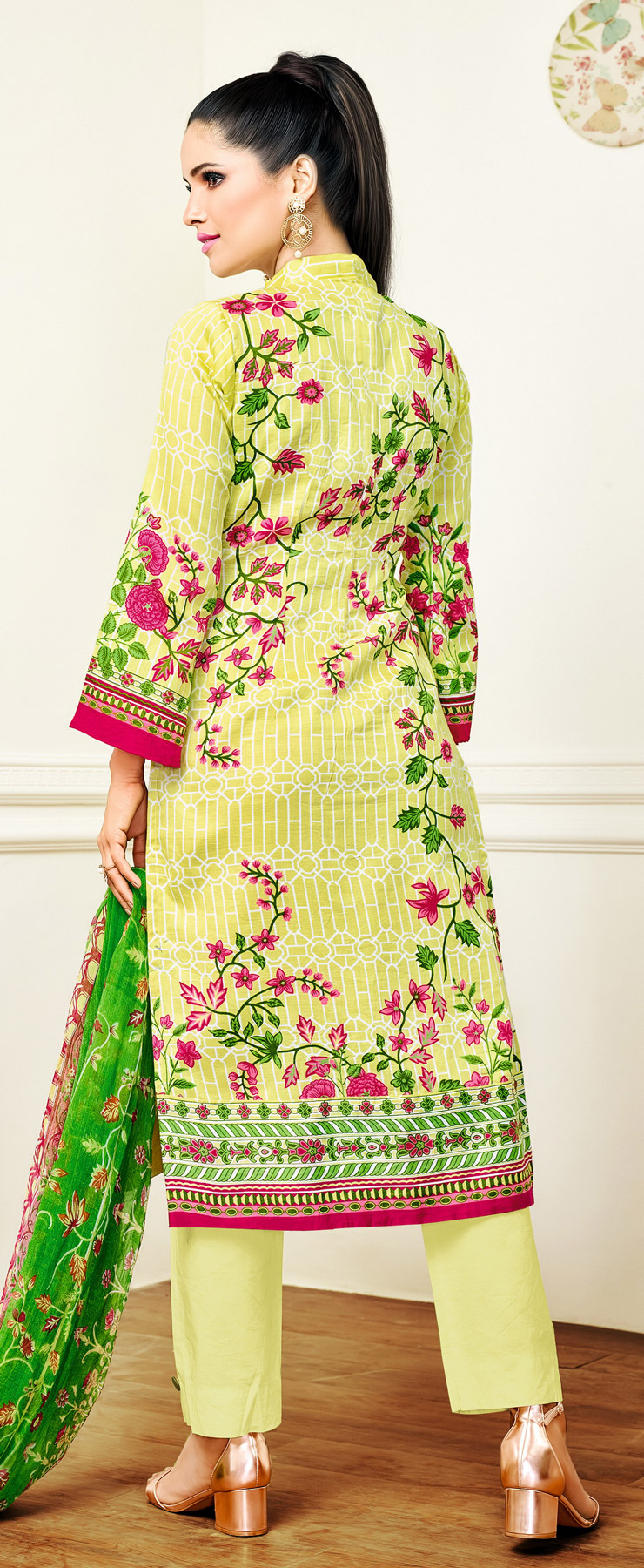 Yellow - Green Floral Printed Casual Suit