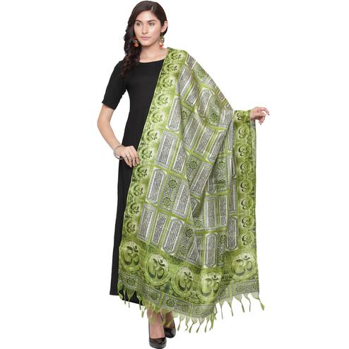 Alluring Green Colored Casual Printed Khadi Silk Dupatta