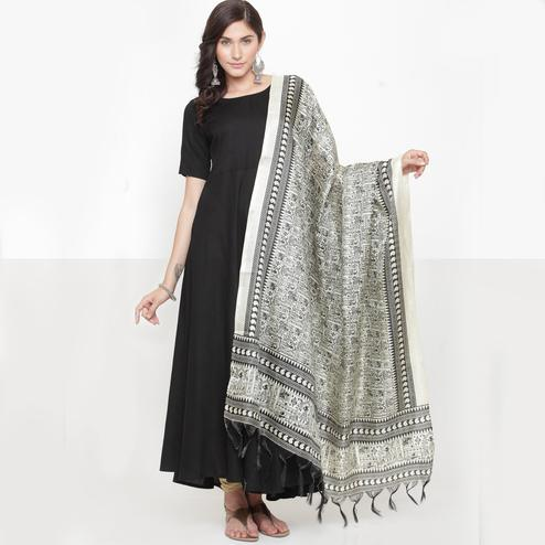 Radiant Black Colored Casual Printed Khadi Silk Dupatta