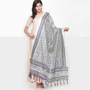 Opulent Blue Colored Casual Printed Khadi Silk Dupatta