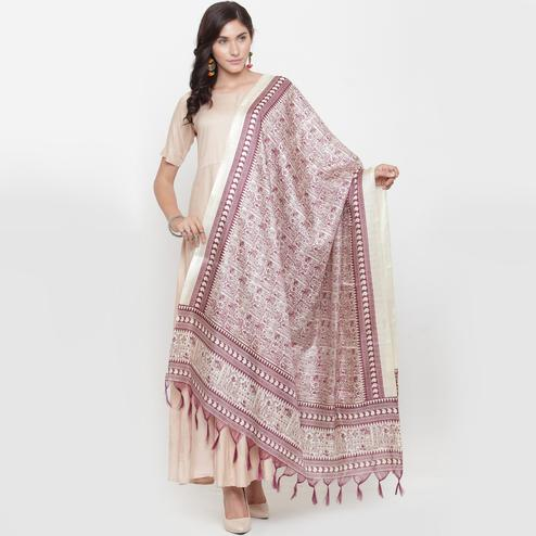 Dazzling Maroon Colored Casual Printed Khadi Silk Dupatta