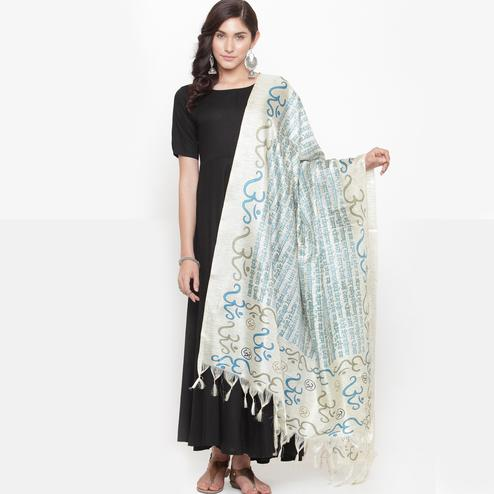 Flattering Off White-Teal Blue Colored Casual Printed Khadi Silk Dupatta