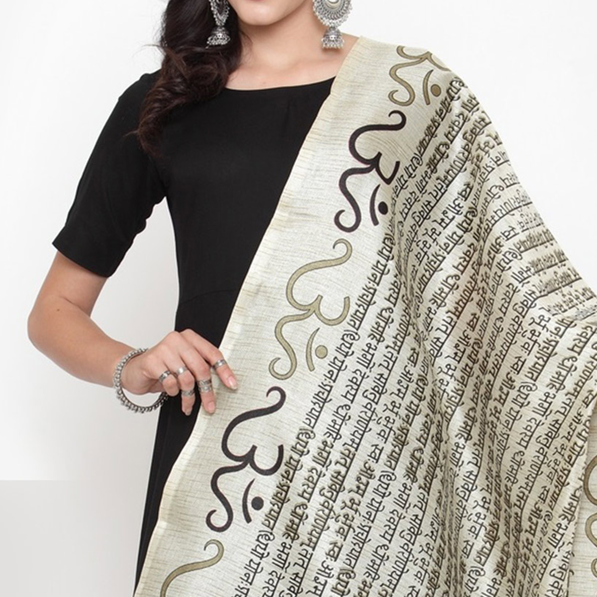 Breathtaking Off White-Black Colored Casual Printed Khadi Silk Dupatta