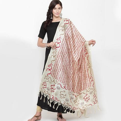 Impressive Off White-Red Colored Casual Printed Khadi Silk Dupatta